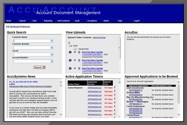 AccuAccount Dashboards