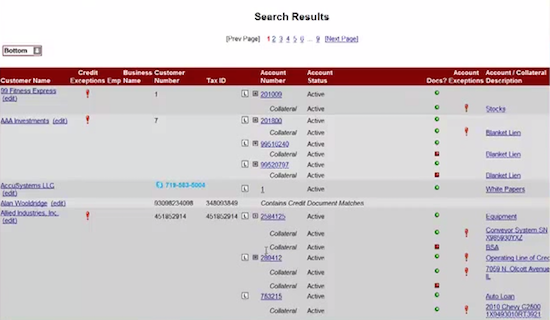 bank document management search results