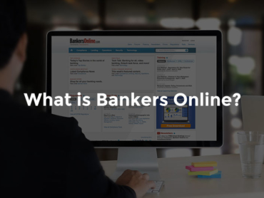 "Male banker in front of computer screen with BanersOnline.com and text, ""What is bankers online"""