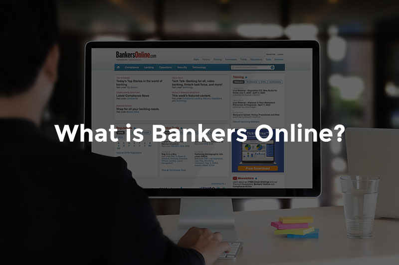 """Male banker in front of computer screen with BanersOnline.com and text, """"What is bankers online"""""""