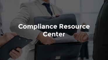"""Banker reviewing paperwork in briefcase with text, """"Compliance resource center"""""""