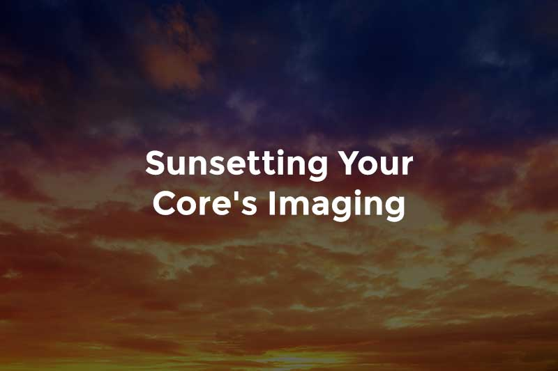 """Colorful sky with text, """"Sunsetting your core's imaging"""""""