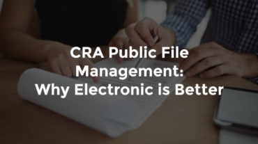 """Hands of male and female banker working together on a report with text, """"CRA public file management - why electronic is better"""""""
