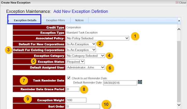 create new bank exception