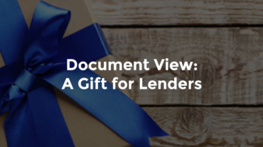"Gift box on a wooden table with text, ""Document view - a gift for lenders"""