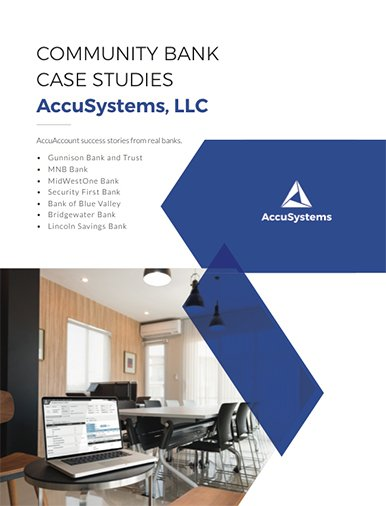 """Case study ebook cover with text, """"Community bank case studies AccuSystems, LLC"""""""