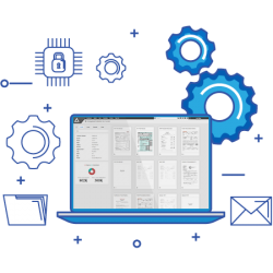Illustration of a laptop with AccuAccount surrounded by icons
