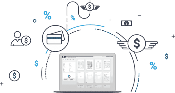 Laptop with AccuAccount document view surrounded by lending icons