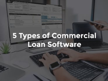 "Banker's hands typing in front of monitor with AccuSystems and text, ""5 types of commercial loan software"""