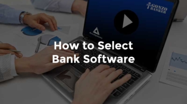 """Bankers' hands on computer with webinar and text, """"How to select bank software"""""""