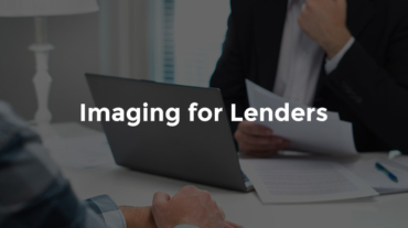 """Lender and customer seated at a desk with text, """"Imaging for lenders"""""""