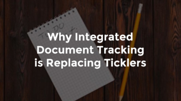 """Pencil and paper pad with notes and text, """"Why integrated document tracking is replacing ticklers"""""""