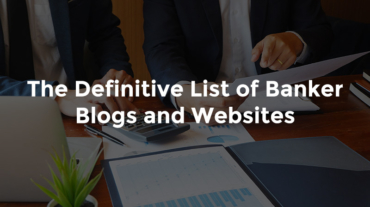 "Two bankers talking over reports with graphs and text, ""The definitive list of banker's blogs and websites"""
