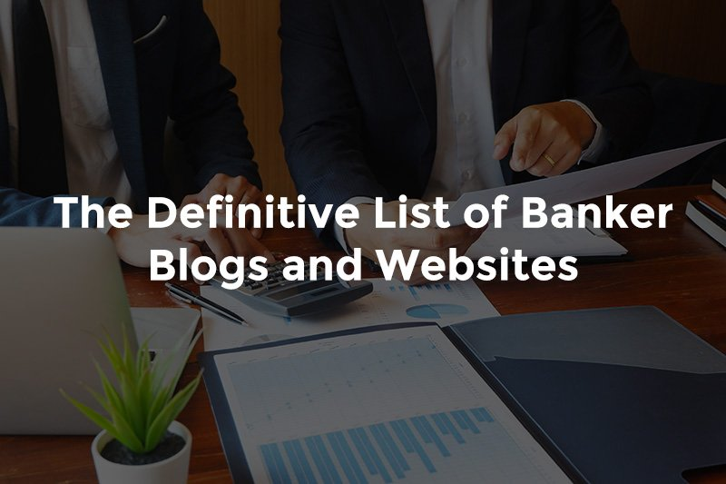"""Two bankers talking over reports with graphs and text, """"The definitive list of banker's blogs and websites"""""""