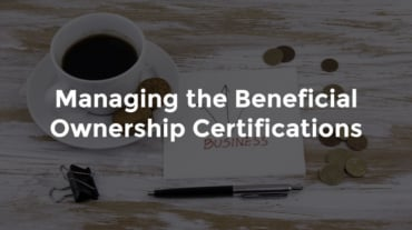 """Coffee cup with notepad and pen and text, """"Managing the beneficial ownership certification"""""""