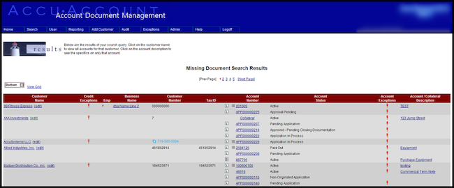 missing document search results
