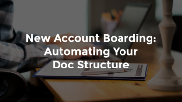 "Banker hands typing on laptop next to report with text, ""New Account Boarding - Automating Your Doc Structure"""