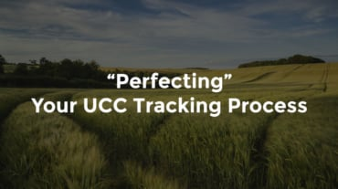 """Field with tall grass and track marks from tractor and text, """"Perfecting your UCC tracking process"""""""
