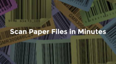 "Barcodes with text, ""Scan paper files in minutes"""