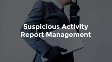 """Male banker speaking on phone with paperwork under other arm and text, """"Suspicious activity report management"""""""