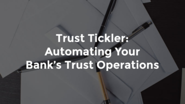 """Multiple pens fanned out over bank paperwork and text, """"Trust tickler - automating your bank's trust operations"""""""